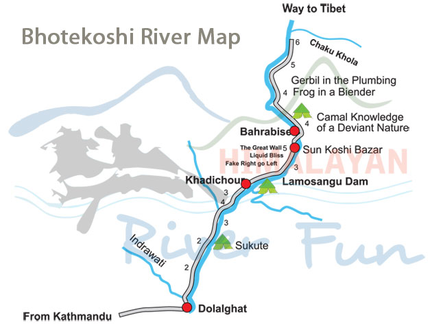 Bhotekoshi River Map