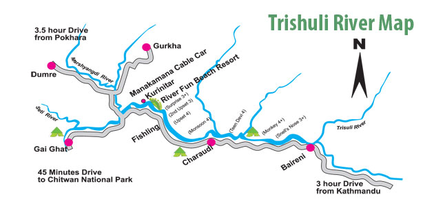 Map of Tishuli River